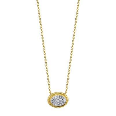 Sloane Street 18K Yellow Gold .13cts  Diamond Gold Necklace with Stones P025D-WDCB-