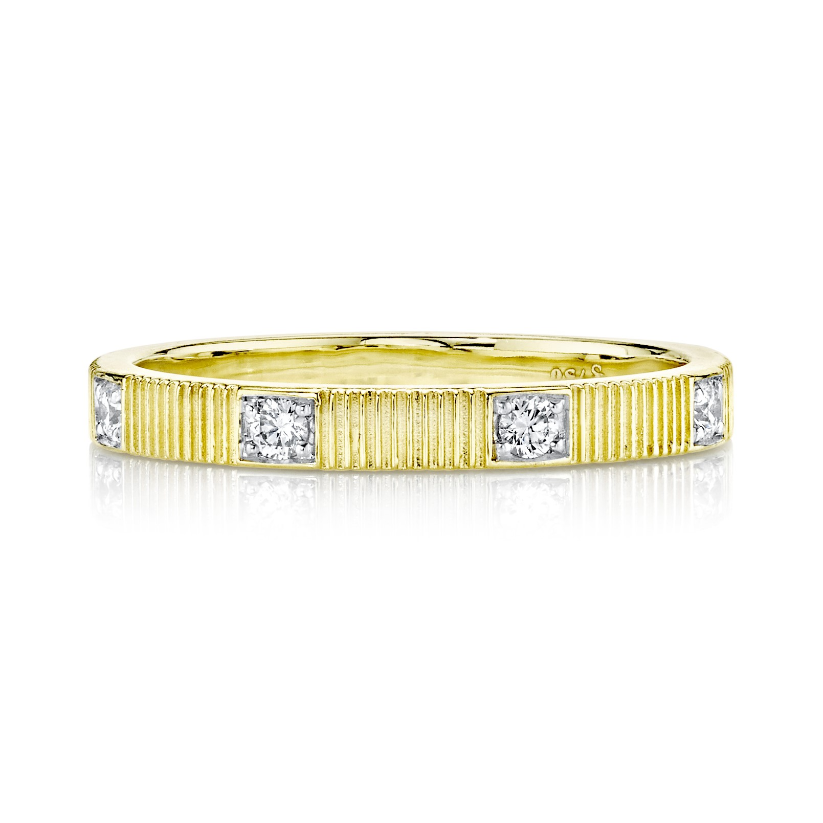 Sloane Street 18K Yellow Gold .18cts  Diamonds Gold Ring with Stones R022F-WDCB-Y