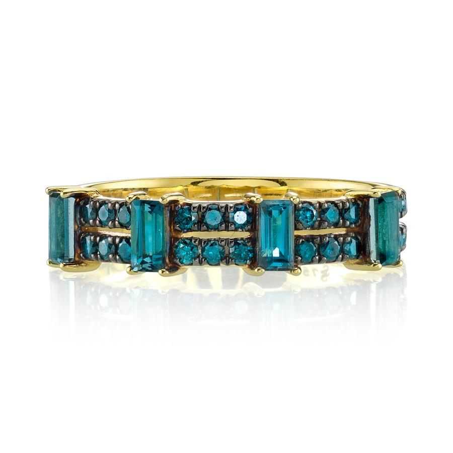 Sloane Street 18K Yellow Gold .43cts Blue Diamonds Gold Ring with Stones R107-LB-BDBR-Y