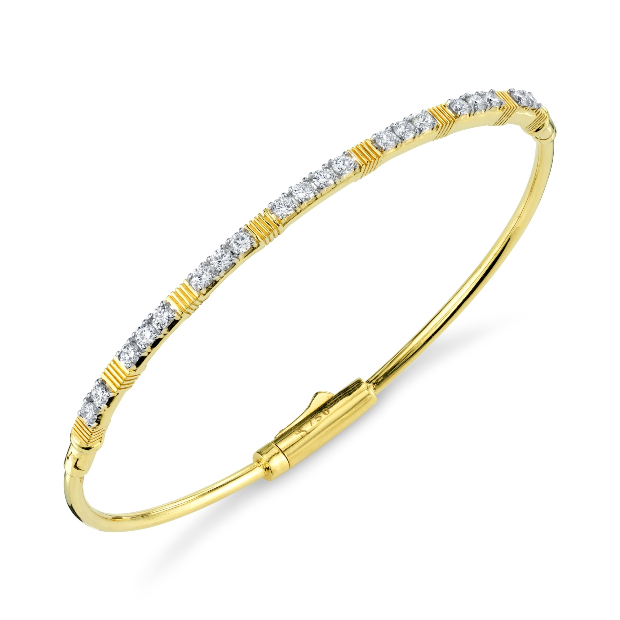 Sloane Street 18K Yellow Gold .79cts  Diamonds Gold Bangle with Stones B031E-WDCB-Y