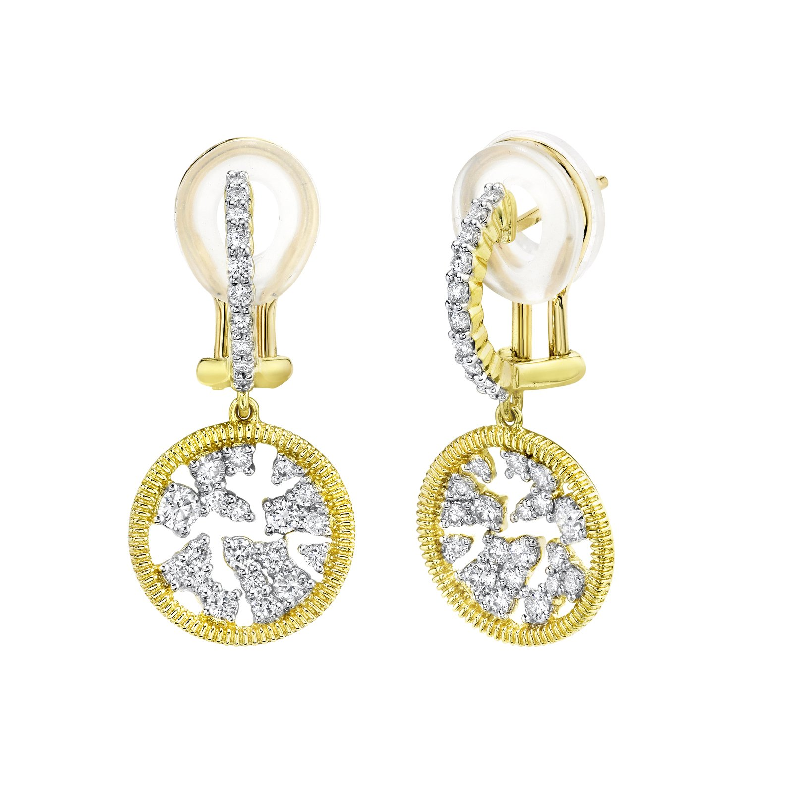 Sloane Street 18K Yellow Gold .91cts  Diamonds Gold Earrings with Stones E026D-WDCB-Y