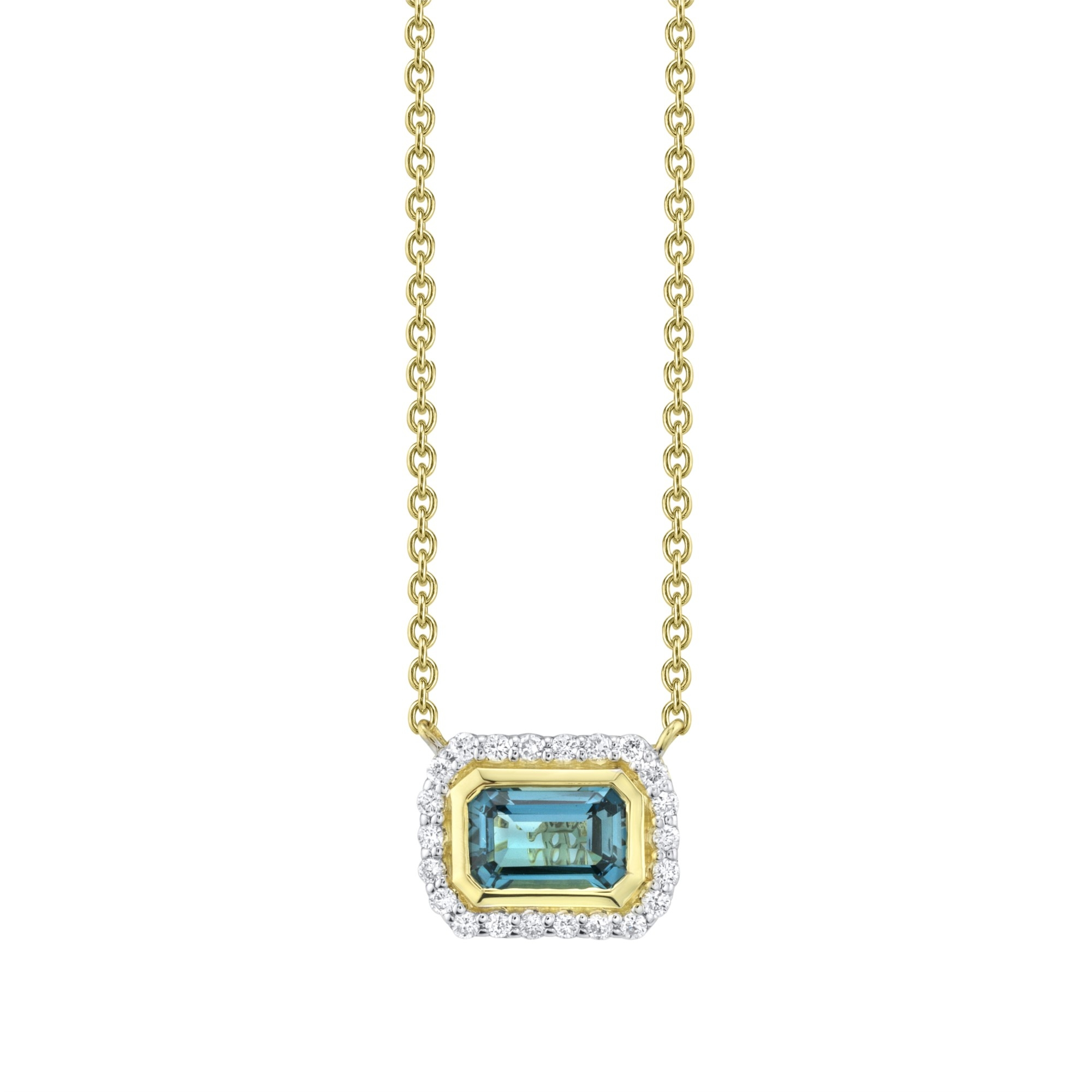 Sloanee Street 18K Yellow Gold .11cts  Diamonds Gold Necklace with Stones P007F-LB-WDCB-Y