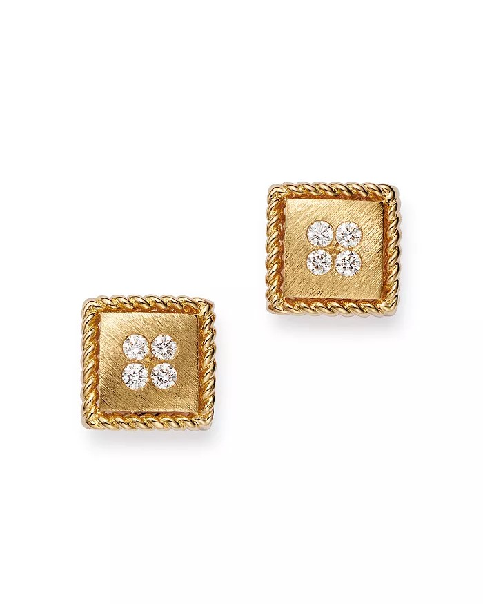 Roberto Coin 18K Rose Gold .09cts  Diamond Gold Earrings with Stones 7772792AXERX