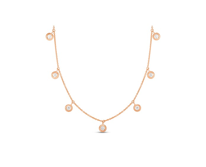Roberto Coin 18K Rose Gold .33cts  Diamond Gold Necklace with Stones 530011AXCHX0