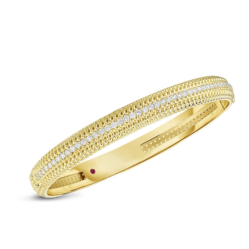 Roberto Coin 18K Yellow Gold .84cts  Diamonds Gold Bangle with Stones 7772779AYBAX