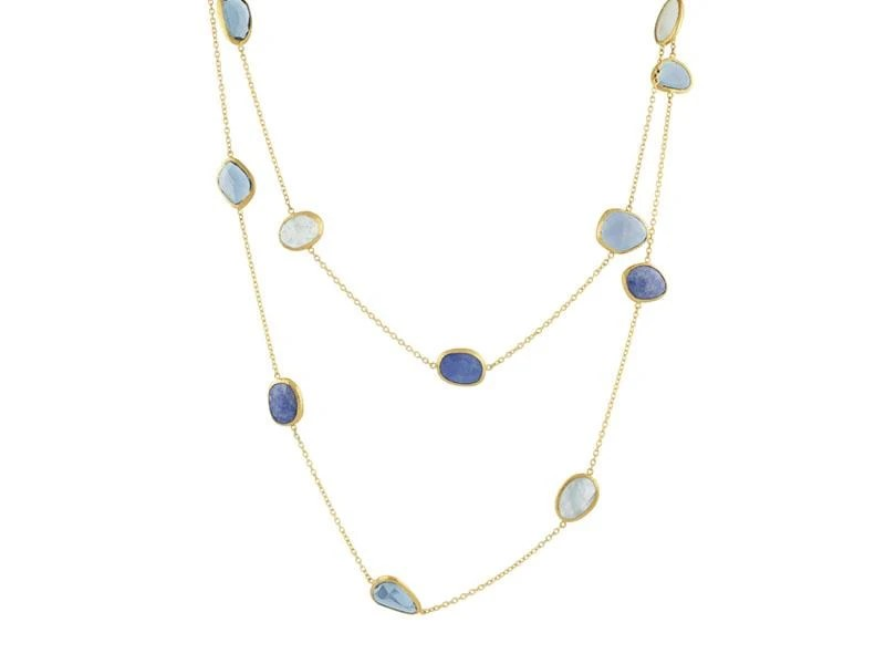 Gurhan 24K Yellow Gold  Blue Topaz Gold Necklace with Stones N-U20710-MS