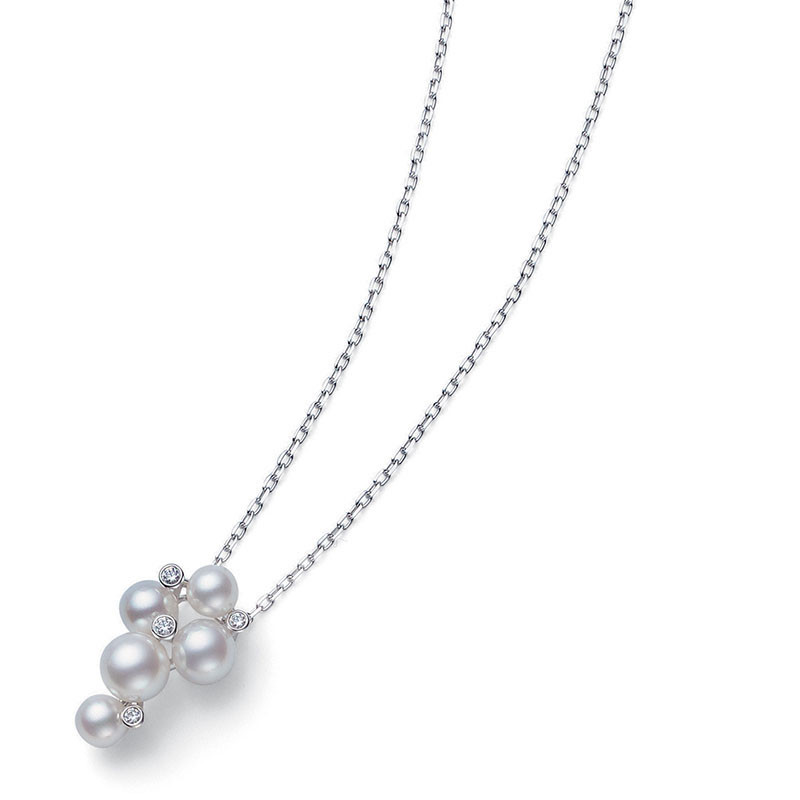 Mikimoto 18K White Gold .05cts  Diamonds Pearl Necklace MPQ10041ADXW