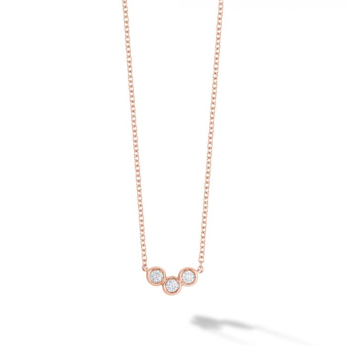 Birks 18K Rose Gold .11  Diamonds Gold Necklace with Stones 450014240839