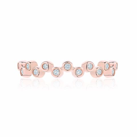Birks 18K Rose Gold .28cts  Diamond Gold Ring with Stones 450011681444-7