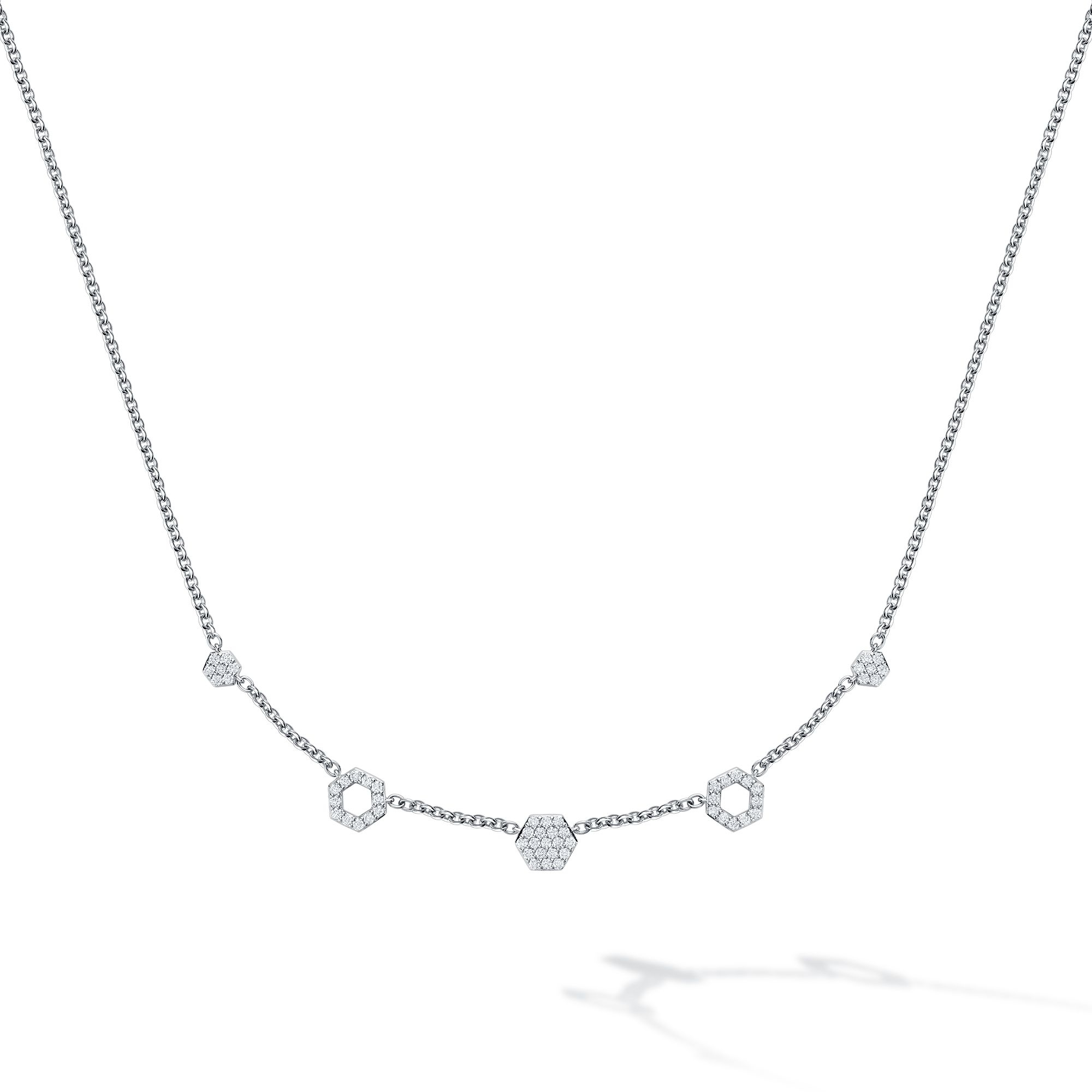 Birks 18K White Gold .55cts  Diamond Gold Necklace with Stones 450014070139