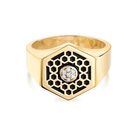 Birks 18K Yellow Gold .04cts  Diamonds Gold Ring with Stones 450013520789-7