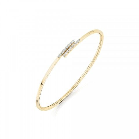 Birks 18K Yellow Gold .18cts  Diamonds Gold Bangle with Stones 450011404579