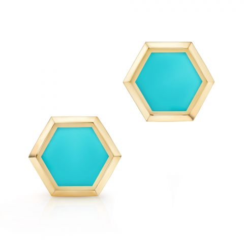 Birks 18K Yellow Gold   Turquoise Gold Earrings with Stones 450009749637