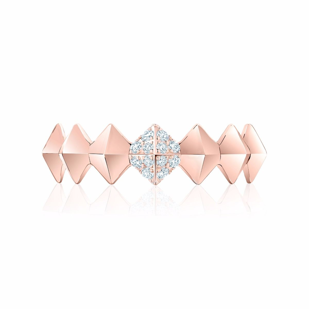 Birks 18k Rose Gold .07cts  Diamonds Gold Ring with Stones 450011680294-7