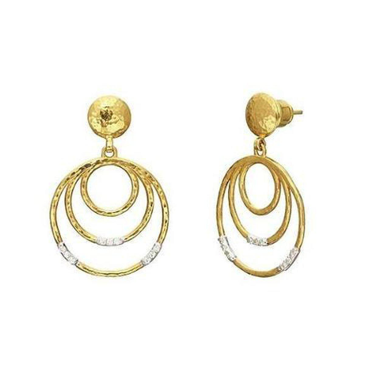 Gurhan 22K Yellow Gold .14cts  Diamond Gold Earrings with Stones LTE-3VP3DI-3RD-S