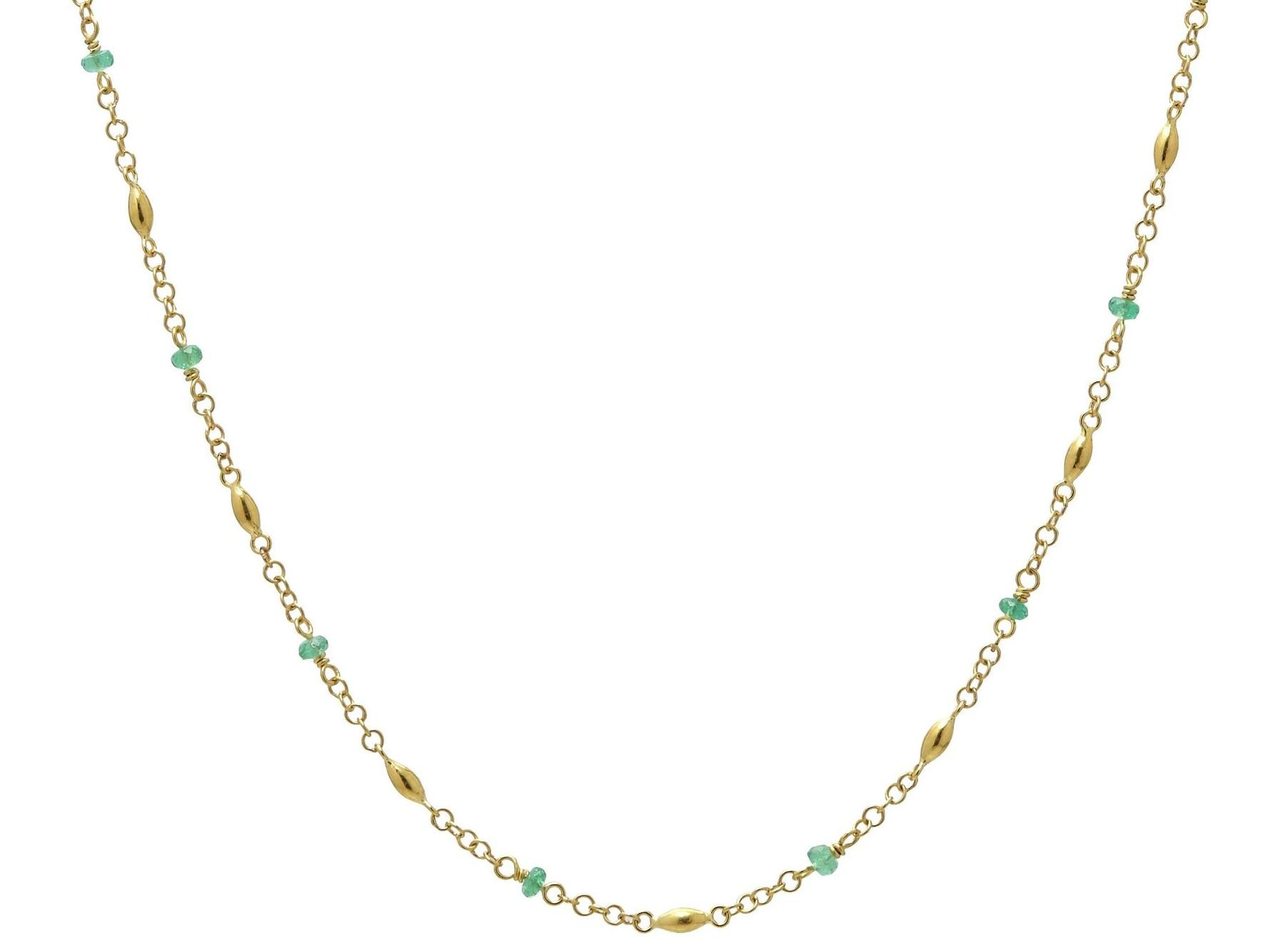 Gurhan 24K Yellow Gold 1.79cts  Emeralds Gold Necklace with Stones CHN-OLS-12EMB-18