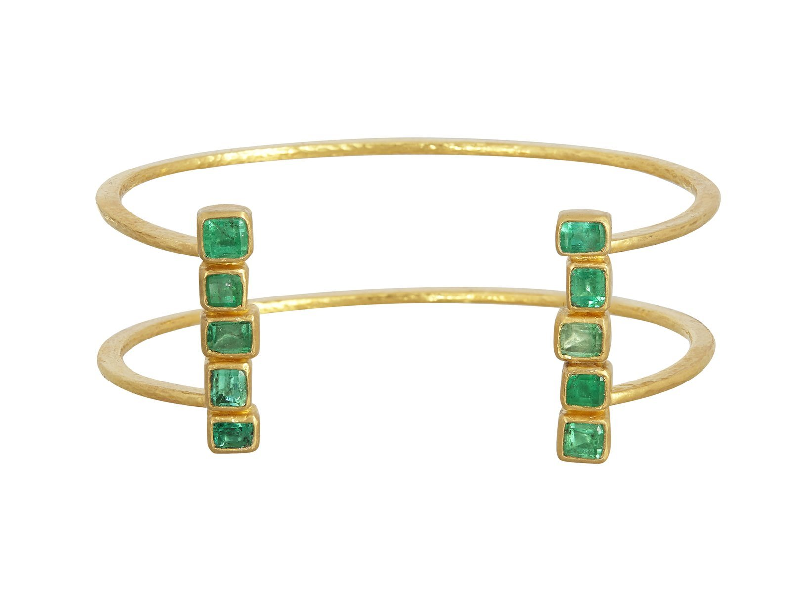 Gurhan 24K Yellow Gold 3.62cts  Emeralds Gold Bangle with Stones CB2-LE-5CEM