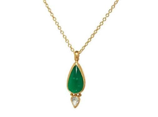 Gurhan 24K Yellow Gold 4.25cts  Emerald Gold Necklace with Stones N-U26491-EM