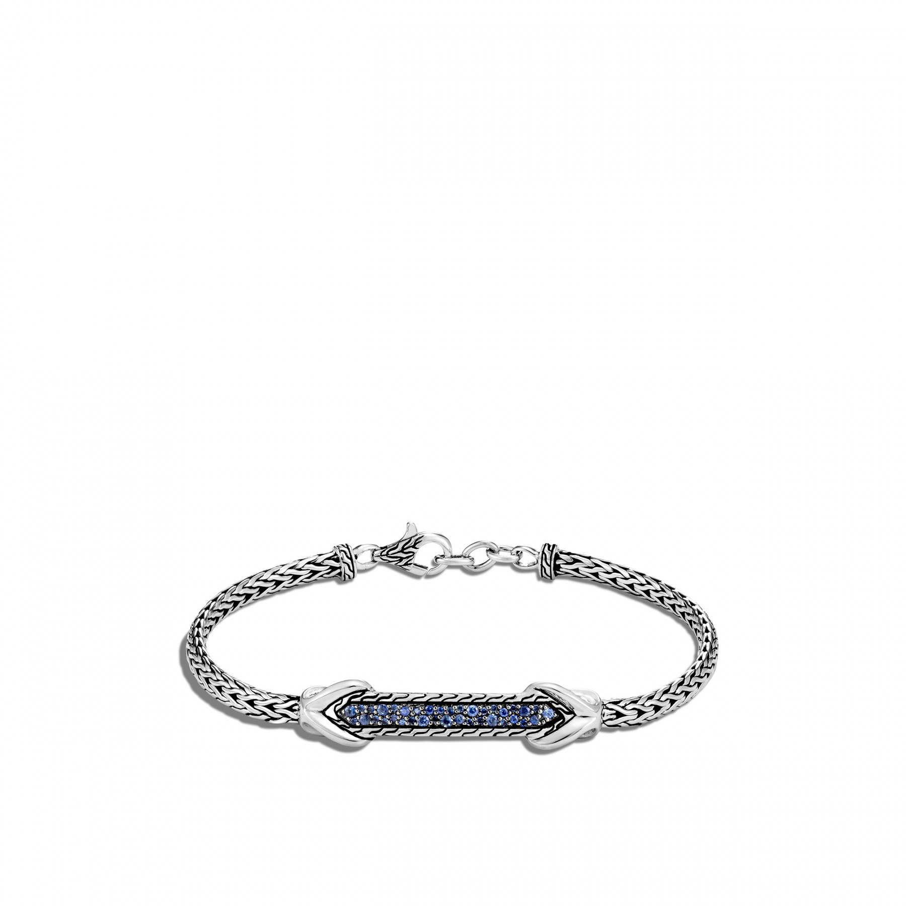 John Hardy  Sterling Silver  Blue Sapphire Silver Bracelet with Stones BBS905704BSPXM