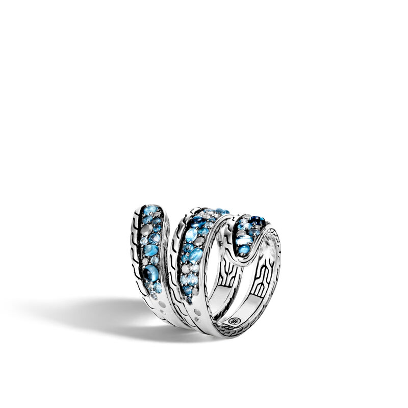 John Hardy  Sterling Silver  Blue Topaz Silver Rings without Stones RBS903634MBTSCNX7