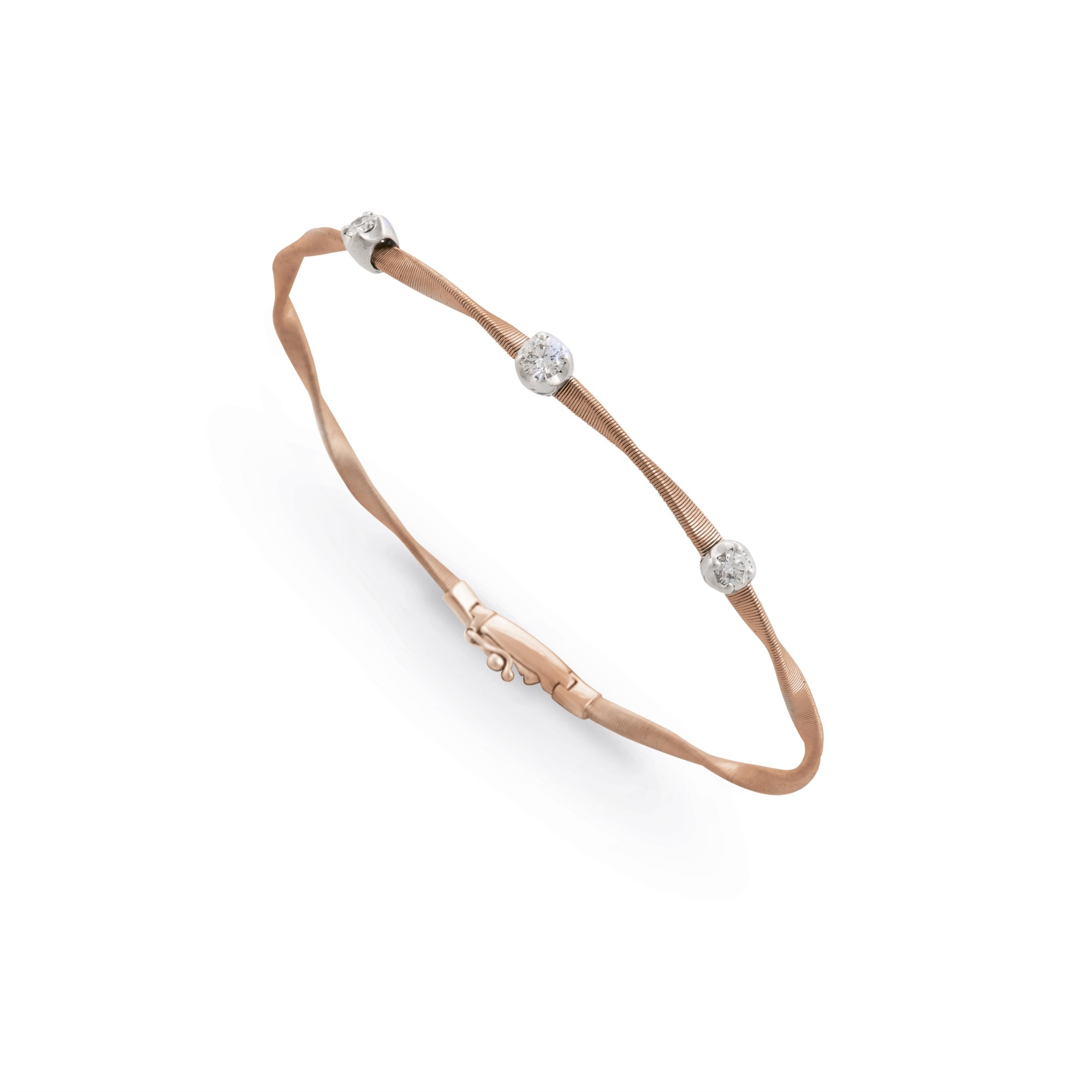 Marco Bicego 18K Rose Gold .15cts  Diamond Gold Bangle with Stones BG337 B WR