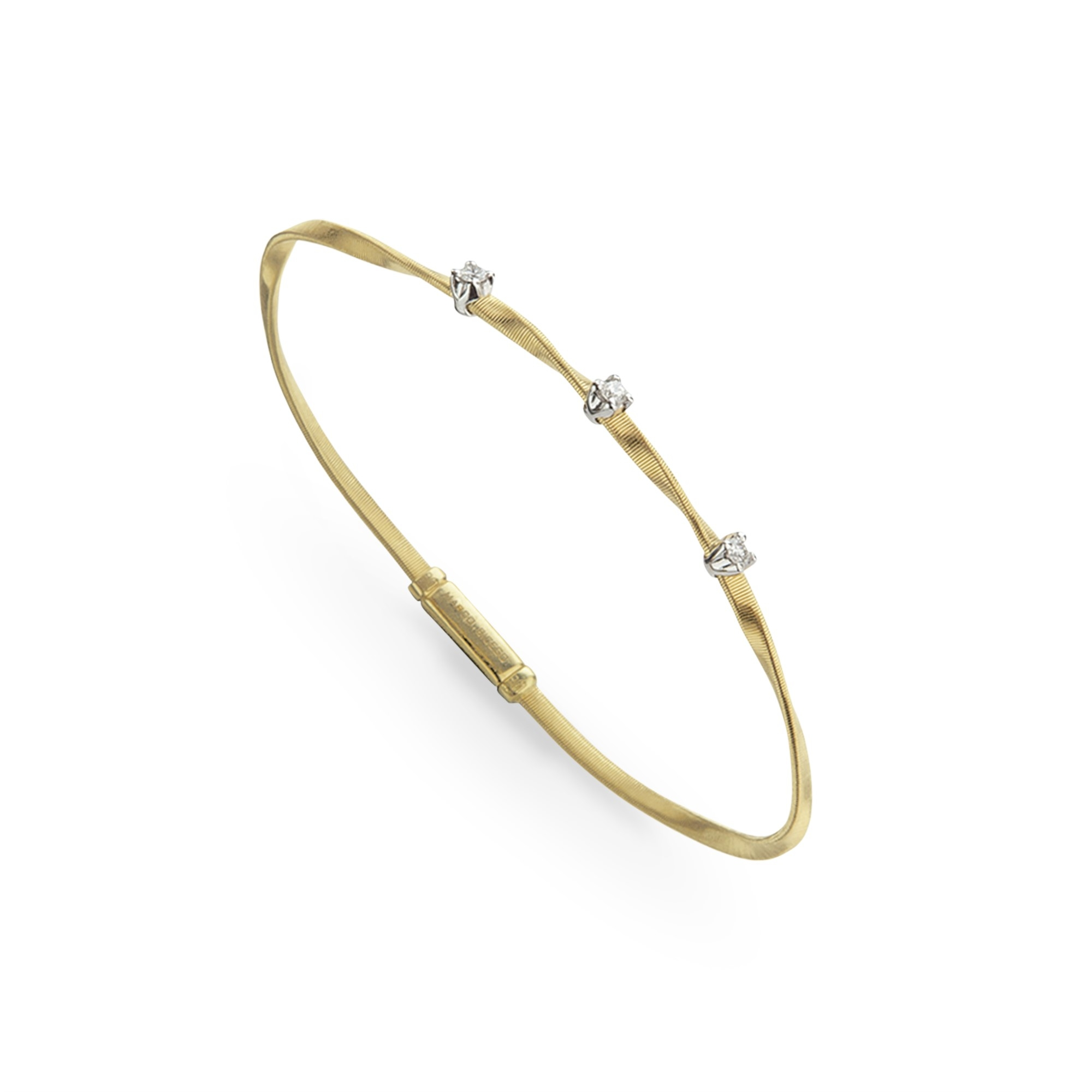 Marco Bicego 18K Yellow Gold .15cts  Diamond Gold Bangle with Stones BG337 B YW