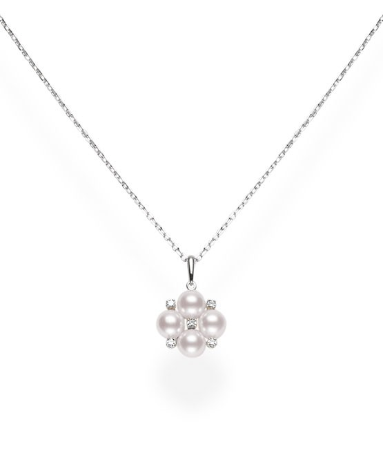 Mikimoto 18K White Gold .07cts  Diamonds Pearl Necklace MPQ10086ADXW