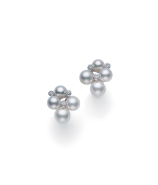 Mikimoto 18K White Gold .09cts  Diamond Pearl Earrings MEQ10052ADXW