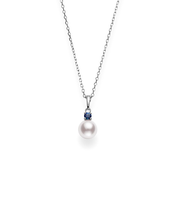 Mikimoto 18K White Gold .13cts Blue Sapphire Pearl Necklace PPS752SAW