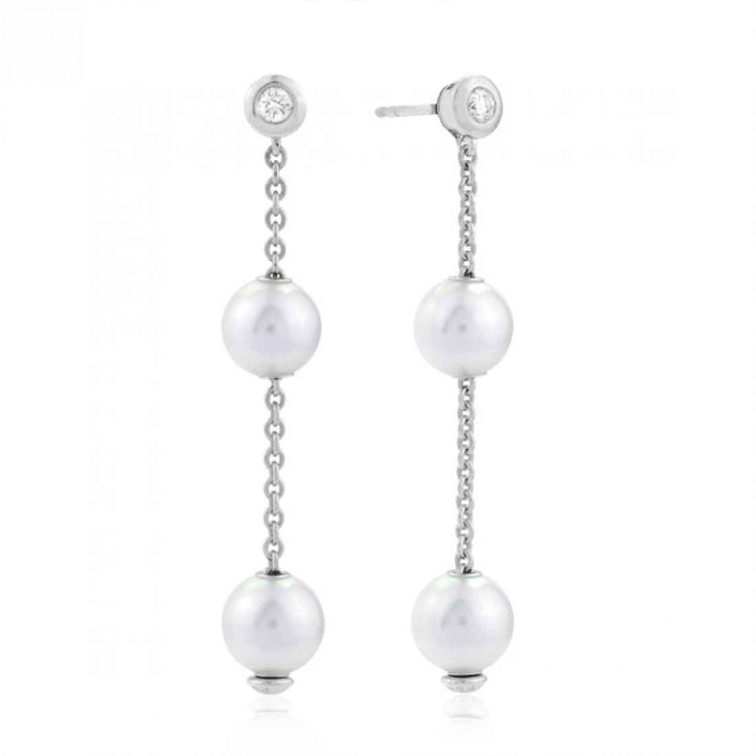 Mikimoto 18K White Gold .14cts  Diamonds Pearl Earrings PEL 644D W