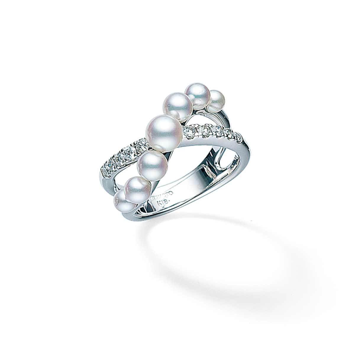 Mikimoto 18K White Gold .22cts  Diamonds Pearl Rings MRQ10066ADXW