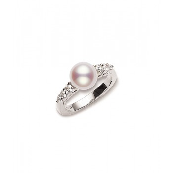 Mikimoto 18K White Gold .31cts  Diamonds Pearl Rings PRA538DW