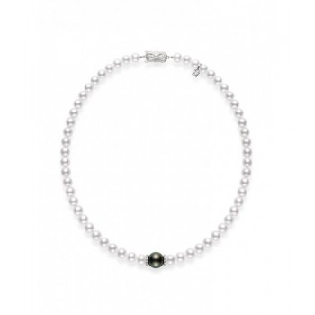 Mikimoto 18K White Gold 40cts  Diamonds Pearl Necklace MZP10118ZDXW