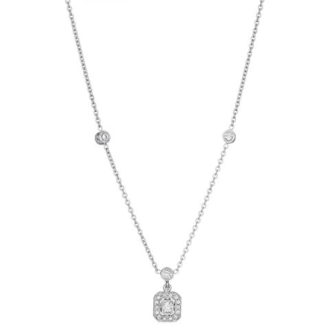 Penny Preville 18K White Gold .47cts  Diamonds Gold Necklace with Stones N5006W
