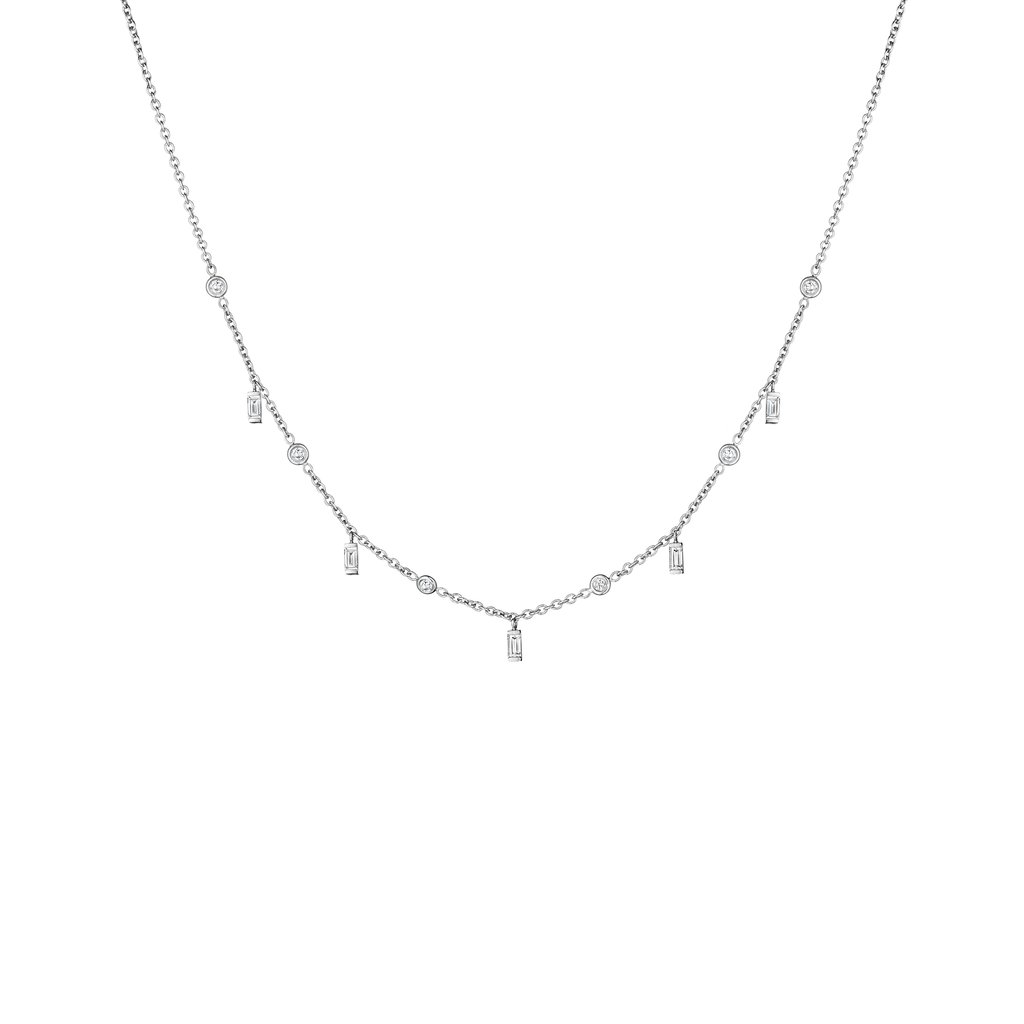 Penny Preville 18K White Gold 1.0cts  Diamonds Gold Necklace with Stones N7547W