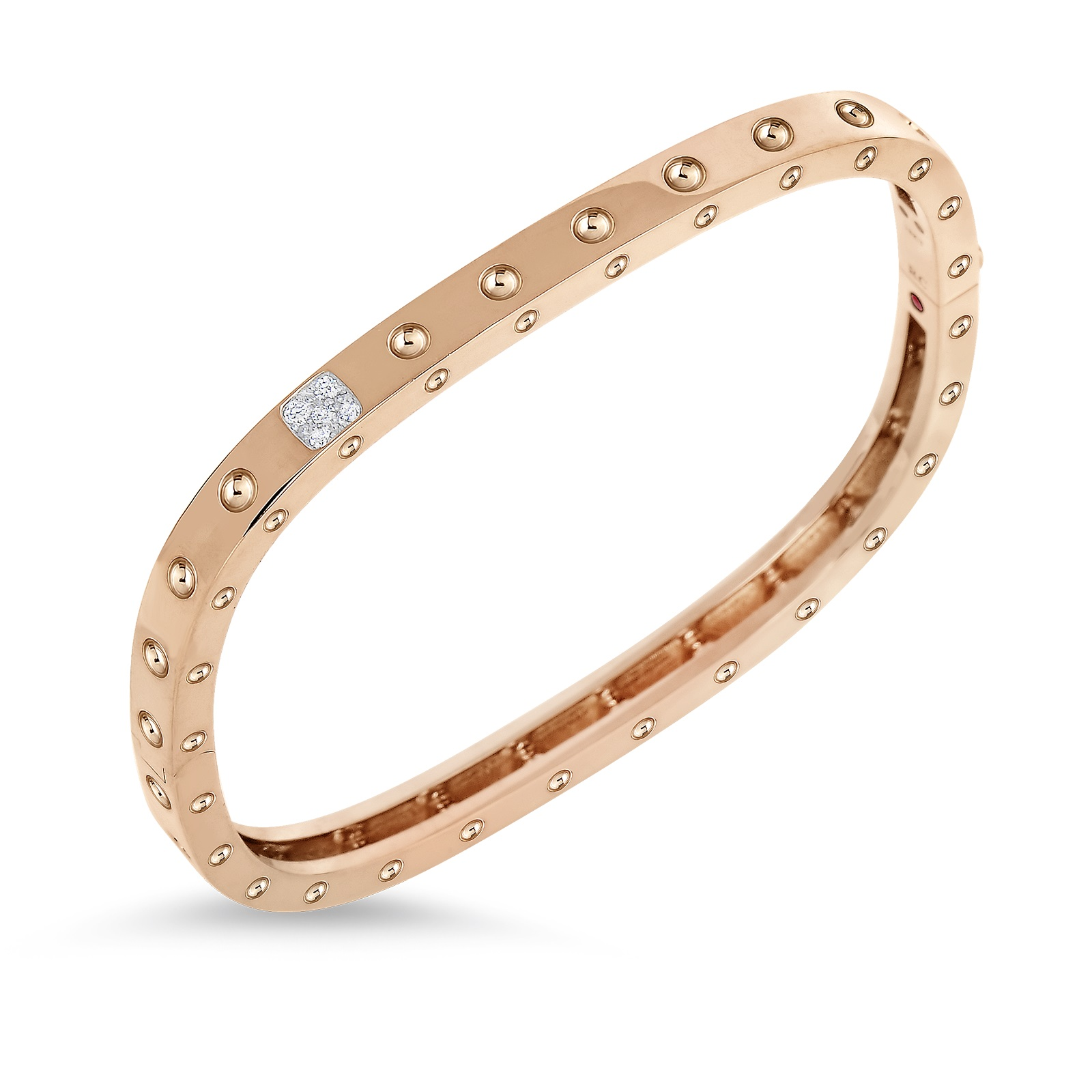 Roberto Coin 18K Rose Gold .07cts  Diamonds Gold Bangle with Stones 888523AHBAXS