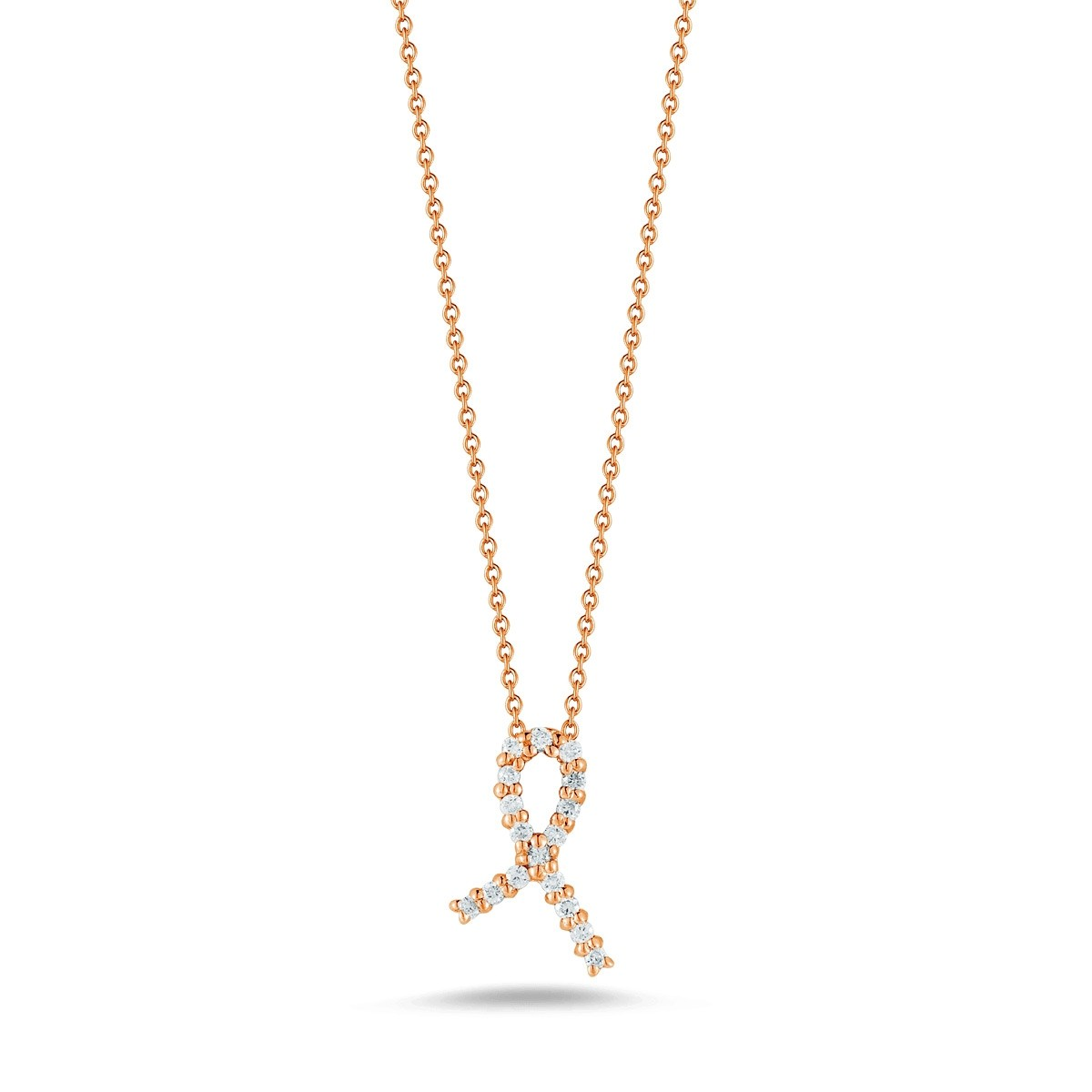 Roberto Coin 18K Rose Gold .09cts  Diamond Gold Necklace with Stones 001251AXCHX0