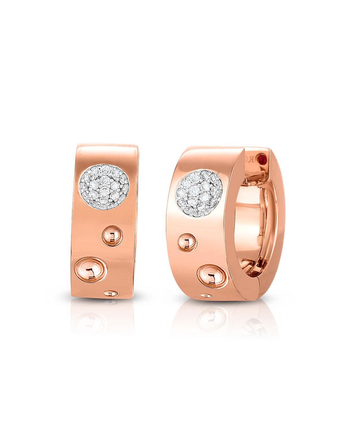 Roberto Coin 18K Rose Gold .16cts  Diamonds Gold Earrings with Stones 8882504AHERX