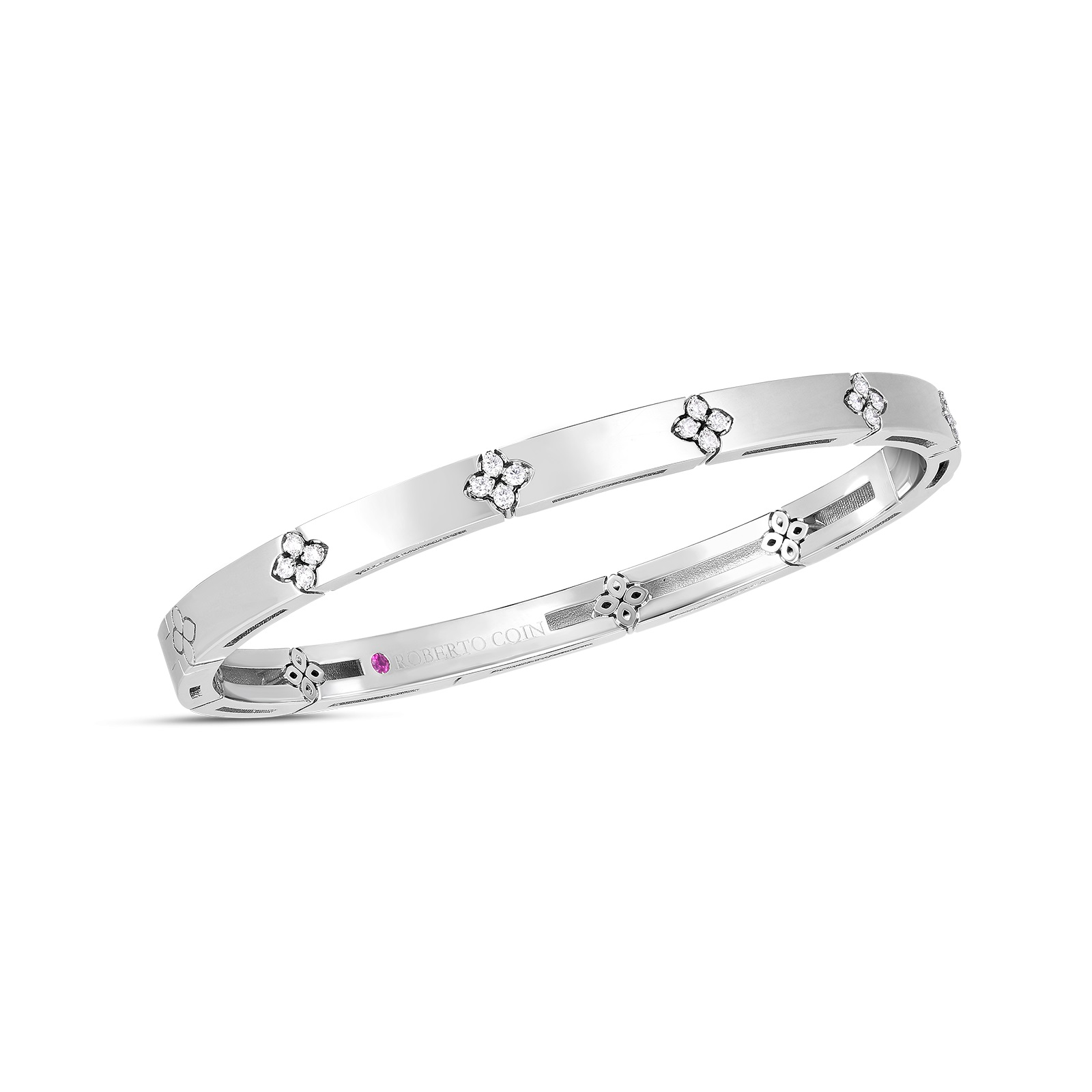 Roberto Coin 18K White Gold .15cts  Diamonds Gold Bangle with Stones 8882970AWBAX