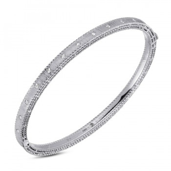 Roberto Coin 18K White Gold .17cts  Diamond Gold Bangle with Stones 7771854AWBAX
