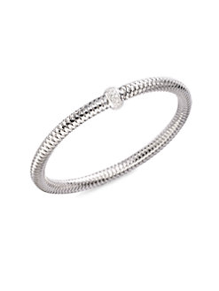 Roberto Coin 18K White Gold .22cts  Diamonds Gold Bangle with Stones 557183AWBAX0