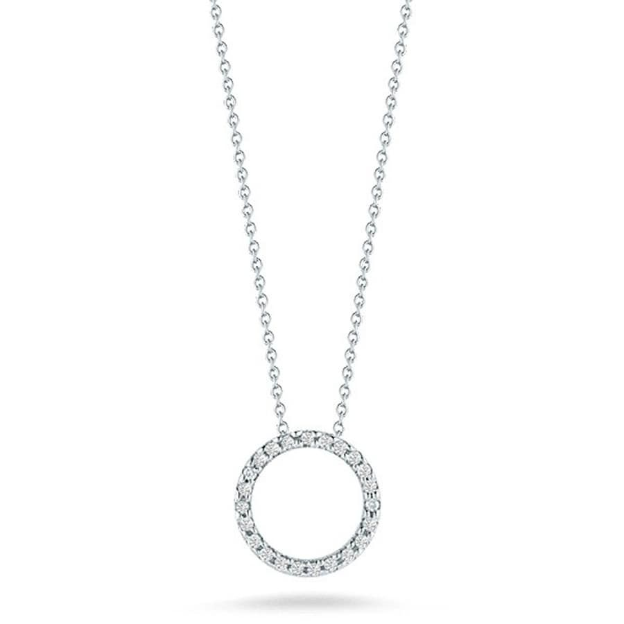 Roberto Coin 18K White Gold .26cts  Diamond Gold Necklace with Stones 001259AWCHX0