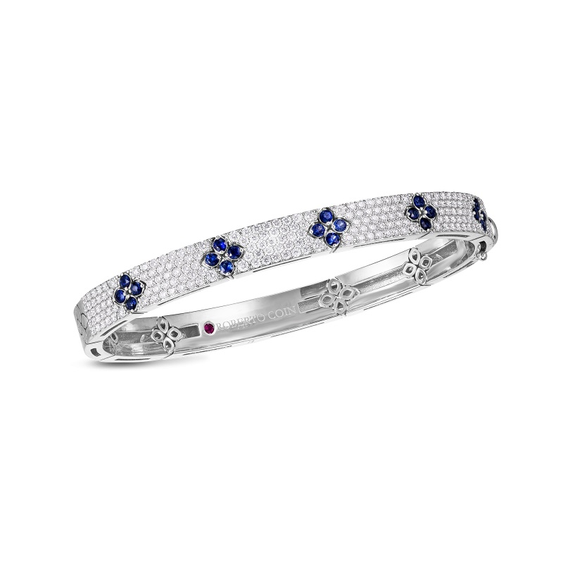 Roberto Coin 18K White Gold 1.75cts  Diamonds Gold Bangle with Stones 8883012AWBASX