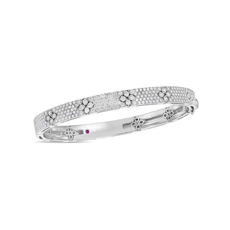 Roberto Coin 18K White Gold 2.20cts  Diamonds Gold Bangle with Stones 8883010AWBAX