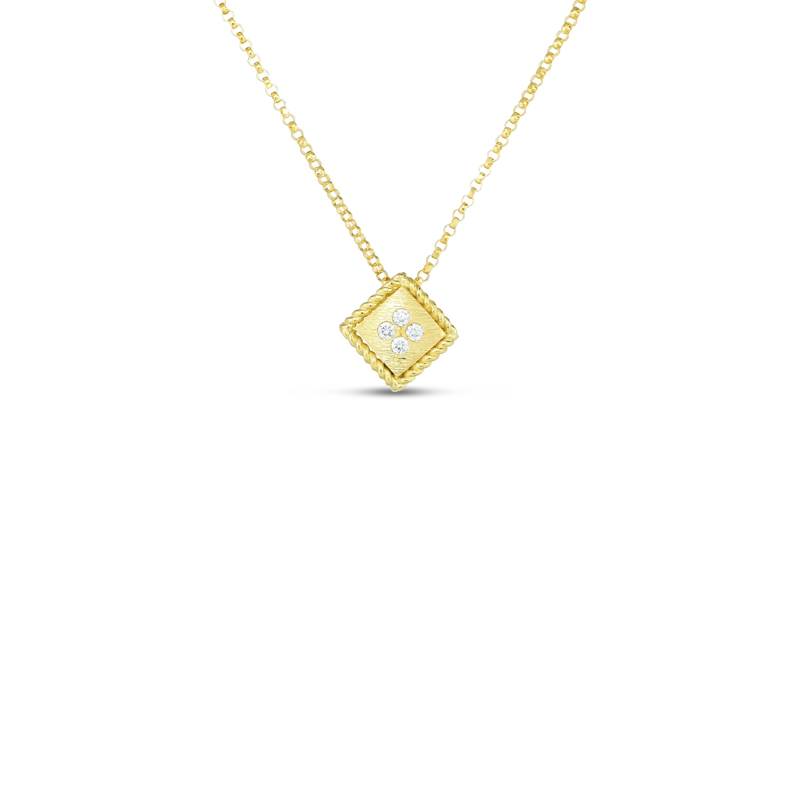 Roberto Coin 18K Yellow Gold .04cts  Diamond Gold Necklace with Stones 7772873AYCHX