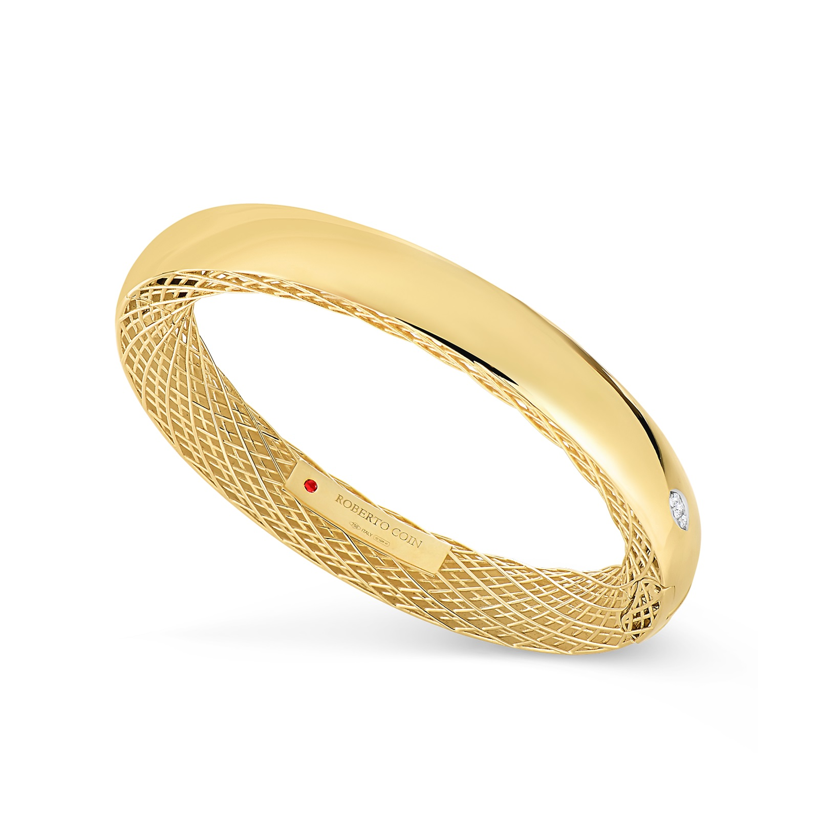 Roberto Coin 18K Yellow Gold .04cts  Diamonds Gold Bangle with Stones 7771093AJBAX1