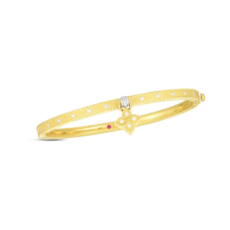 Roberto Coin 18K Yellow Gold .39cts  Diamond Gold Bangle with Stones 7772824AJBAX