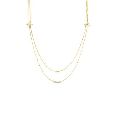 Roberto Coin 18K Yellow Gold .64cts  Diamonds Gold Necklace with Stones 8882717AY31X