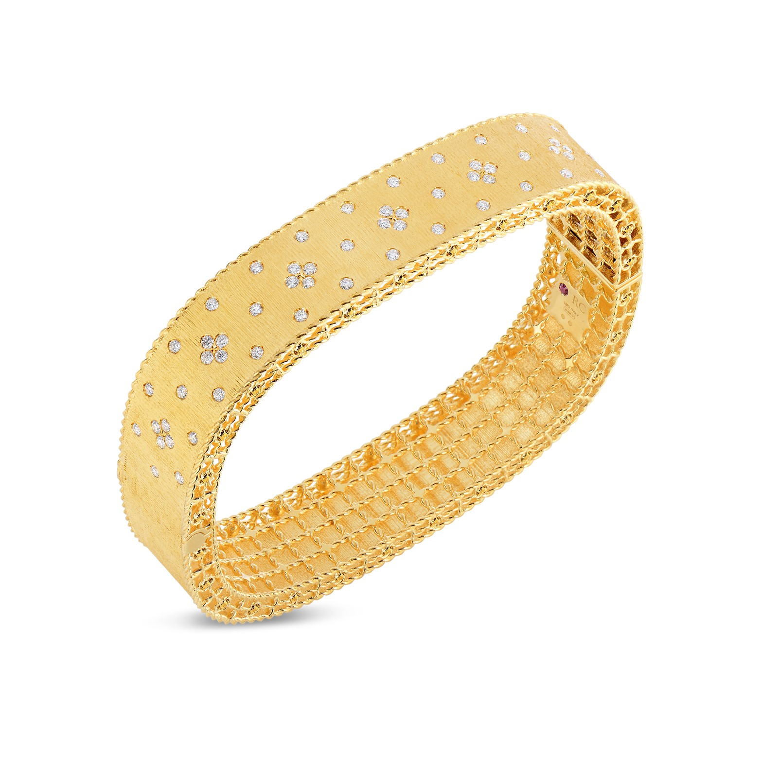 Roberto Coin 18K Yellow Gold .87cts  Diamond Gold Bangle with Stones 7771195AYBAX