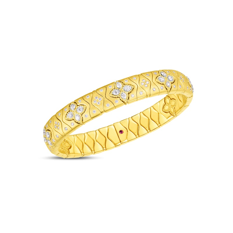 Roberto Coin 18K Yellow Gold 1.79cts  Diamonds Gold Bangle with Stones 7773007AJBAX